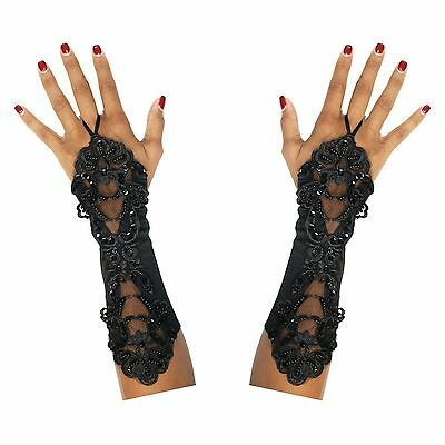 Long Finger Loop Halloween Gothic Steampunk Day of the Dead Gloves - Black