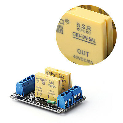 2 Channel SSR Solid State Relay High-low Trigger 5A 3-32V For Arduino UNO R3 New