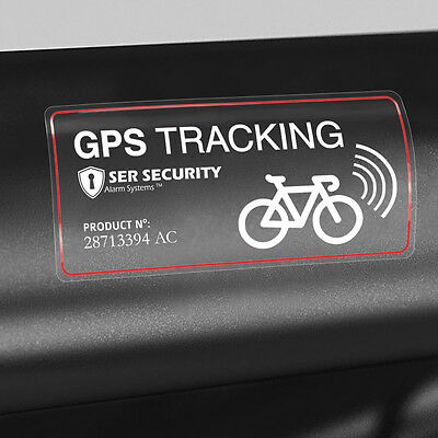 2x WARNING STICKER - Bicycle GPS Tracking Device - Bike Theft Tracker System