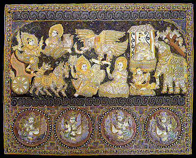 """Vintage Burmese Kalaga Tapestry With Celestial Beings, and Flying Ganesh? 34x42"""""""