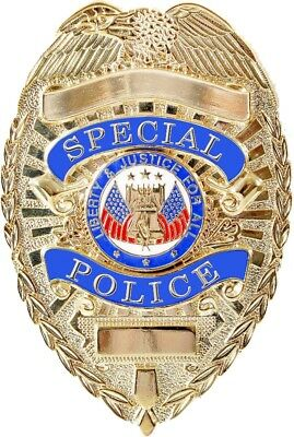 Gold Special Police Liberty & Justice For All Shield Police Badge