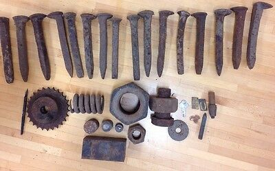 Antique Rusty Metal Lot Nuts Bolts Railroad Spikes Springs Steampunk Repurposed