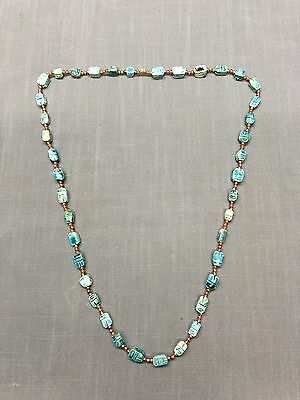 """Vintage Carved EGYPTIAN Faience Scarabs Necklace 18"""""""