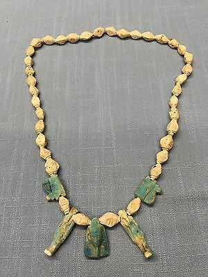 Antique  Carved EGYPTIAN ~ Ceramic / Stone ?Necklace ~ Beautiful