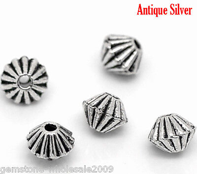 W09 200Pcs Silver Tone Bicone Spacer Beads Findings