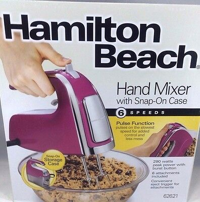 Hamilton Beach 62621 6-Speed Hand Mixer with Snap-On Case …