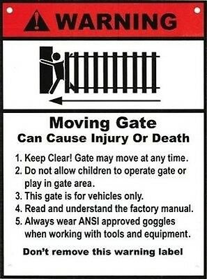 """Warning Signs 2 Pack Moving Gate Can Cause Serious Injury 8""""x12"""" Safety UV & UL"""