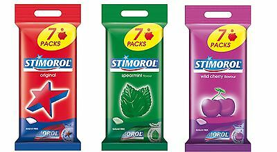 Stimorol Chewing Gum Sugar Free 7 Packs with 3 Flavors  Made in Denmark