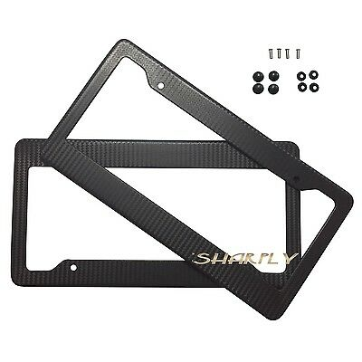 4 Hole Carbon Fiber License Plate Frame Style Custom License Plate Tag Snap Fit Frames with Screw Caps Cover Set For Car Truck Front /& Rear Bracket License Plate Frames Kit