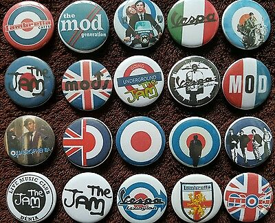 The Jam Quadrophenia Vespa Lambretta Mod Button Badges x 20. Pins. Bargain :0)