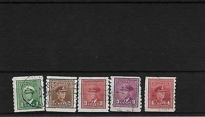 Canada 1942-48, Coils Set Used, Sg389/93, Imperf X Perf 8, Cat £26