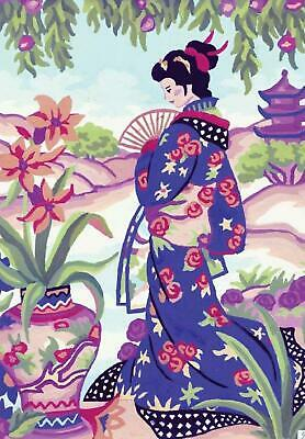 Grafitec Printed Tapestry/Needlepoint Canvas – Geisha with Fan