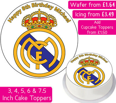 Real Madrid Football Team Edible Wafer & Icing Personalised Cake Toppers Club Fc