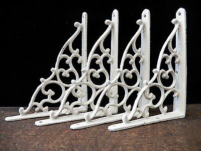 "Lot 4 Antique-Style Paintable White Cast Iron SMALL 5 1/4"" x 7"" SHELF BRACKETS"