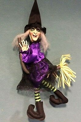 New Flying Purple Witch on Broom Animated Halloween or Kitchen Witch Decoration