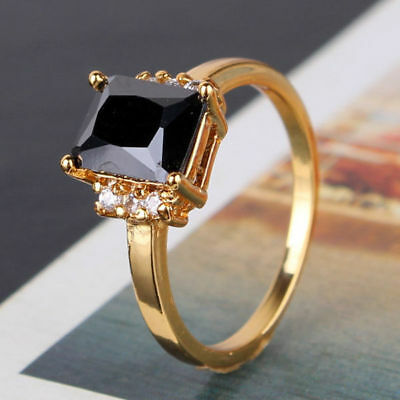 Vintage Classic Black Sapphire Crystal 24k Gold Filled Women Lady Finger Rings
