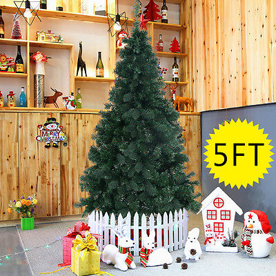 1.5m 5ft Artificial Christmas Tree Green with Metal Stand Xmas Decorations