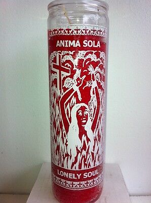 Lonely Soul 7 Day Unscented Red Candle In Glass ( Anima Sola )