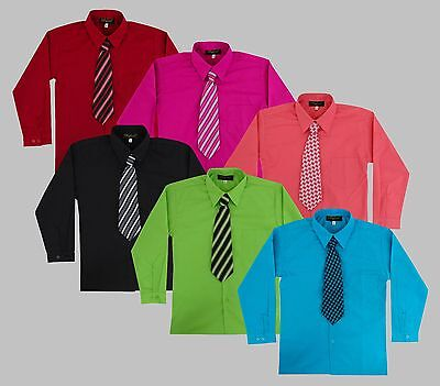 Boys Long Sleeve Dress Shirt with Matching Tie Set Size 2T-14