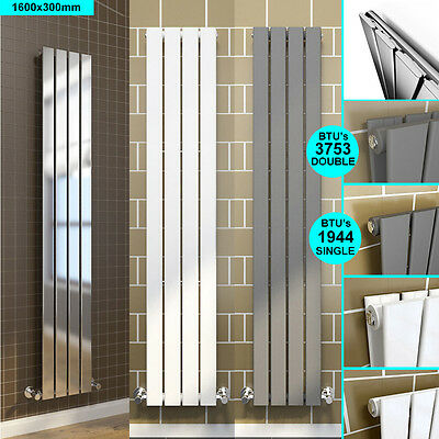 Vertical Flat Panel Column Designer Radiator Chrome White Anthracite Gloss Black