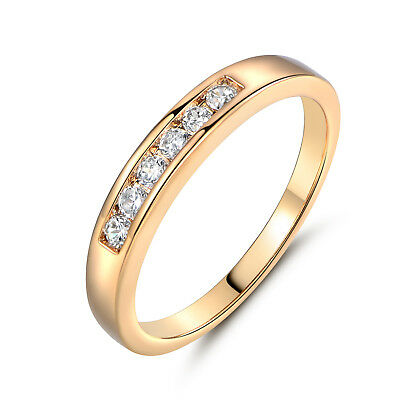 Stunning 18k Gold Filled Channel Enchased Clear Sapphire Women Lady Finger RIngs