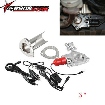 """3"""" Electric Exhaust Muffler Valve Cutout System Dump Manually Kit Stainless"""