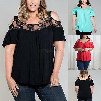 Plus Size Summer Women Loose Ladies Short Sleeve Sexy Lace Shirt Tops Blouse Top