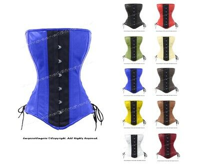 Heavy Duty 26 Double Steel Boned Waist Training Leather Overbust Corset #8396-LE