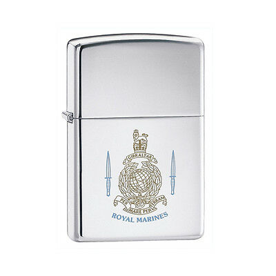 Zippo Royal Marines Lighter With Etched Emblem And Blue Etched Wording In Black