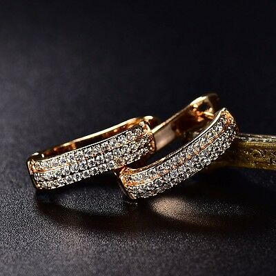lady fashion vintage 18K gold filled Swarovski crystal hoop earrings jewellery