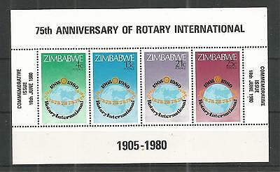 Zimbabwe 1980 Rotary International Minisheet Sg,ms595 Un/mm Nh Lot 862A