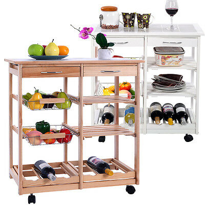 A Kitchen Cart Rolling Wood Dining Kitchen Trolley Tableware Storage W/Drawers