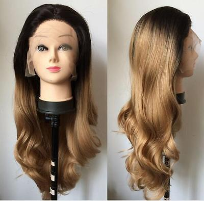 Heat resistant Lace front wig Synthetic hair Body wavy Ombre 1B/Dark blonde