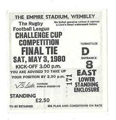 1980 - Hull v Hull K.R., Challenge Cup Final Match Ticket.