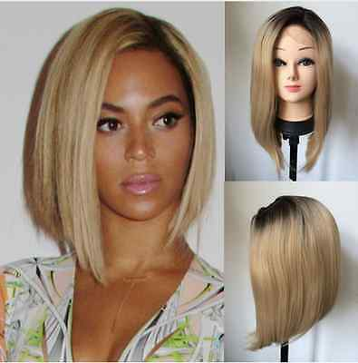 "14"" Heat resistant Lace front wig Synthetic hair Bob straight 1B/Light blonde"