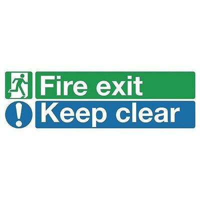 Signs and Labels Safety Sign Fire Exit Keep Clear 150x450mm PVC EC08S/R