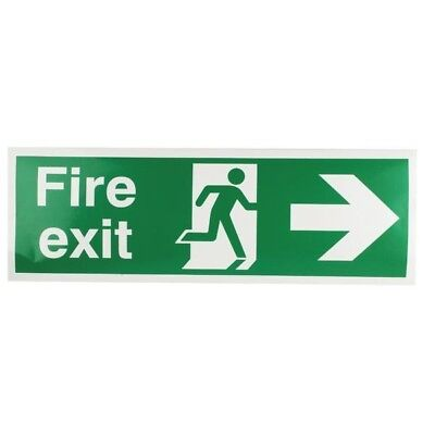 Safety Sign Fire Exit Running Man Arrow Right 150x450mm Self-Adhesive E99A/S