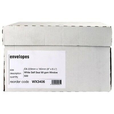 Envelope C5 Window 90gsm White Self-Seal Pack of 500 Boxed WX3406