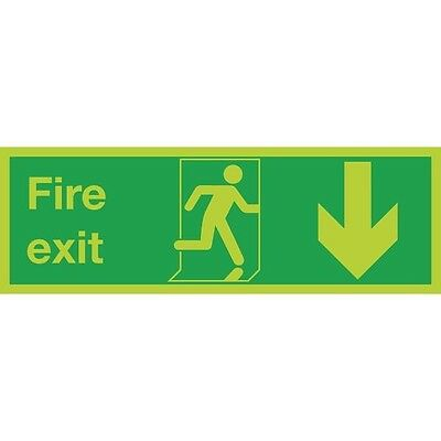 Safety Sign Niteglo Fire Exit Running Man Arrow Down 150x450mm SR71671