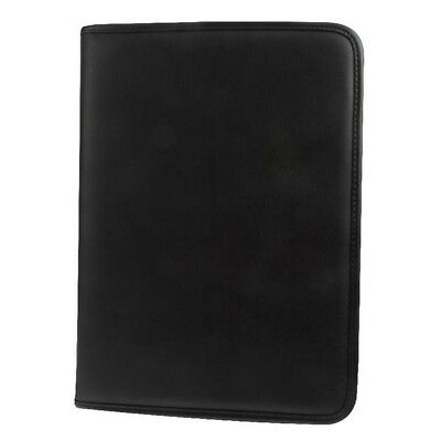 Executive Black A4 Conference Folder PU Leather Zipped Portfolio Ringbinder Pad