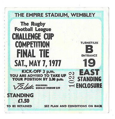 1977 - Leeds v Widnes, Challenge Cup Final Match Ticket.