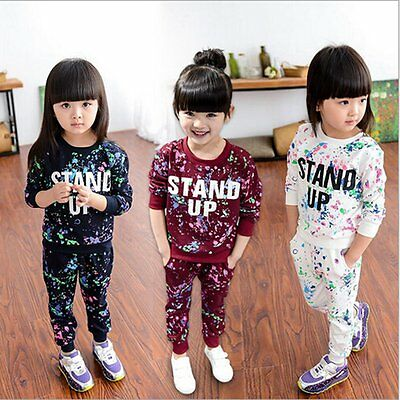 2PCS Kids Baby Girls Autumn Tracksuit Clothes Sweatshirt Tops+Pants Outfits Sets