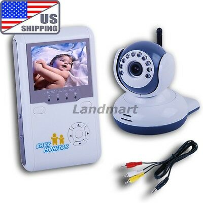 """US Ship 2.4"""" Wireless Baby Monitor IR Video Talk Camera Infant Security Saparate"""