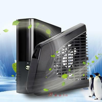 USB Side Cooling Fan External Air Cooler Cool Black for Xbox 360 Slim Console UK