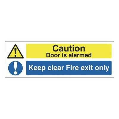 Signs and Labels Safety Sign 150x450mm Fire Exit Only This Door Is Alarmed