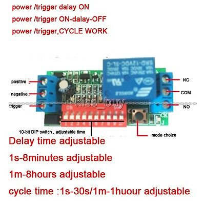 5/12/24V Multifunction Cycle Timer Delay Time Timing Trigger Switch Relay Module