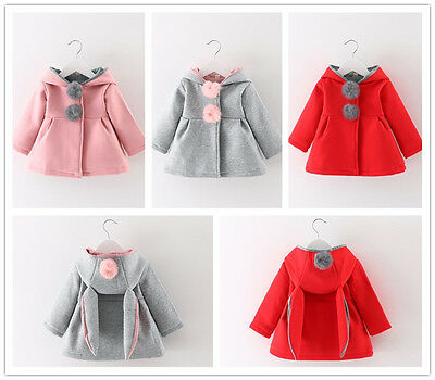Infant Newborn Girl Warm Winter Outerwear Hooded Coat Cotton Jacket Kids Clothes