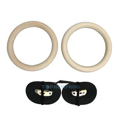 Pair of Wooden Gymnastic Olympic Gym Rings w/ Strength Training Adjustable Strap