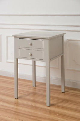 Grey Wooden Two Drawers Bedside Table Unit Bedroom