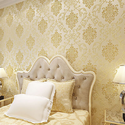 10m 3D Embossed Non-woven Luxury Wallpaper Roll Living Room Bedroom Decoration H
